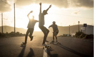 Skate lesson in Lajares, Fuerteventura.